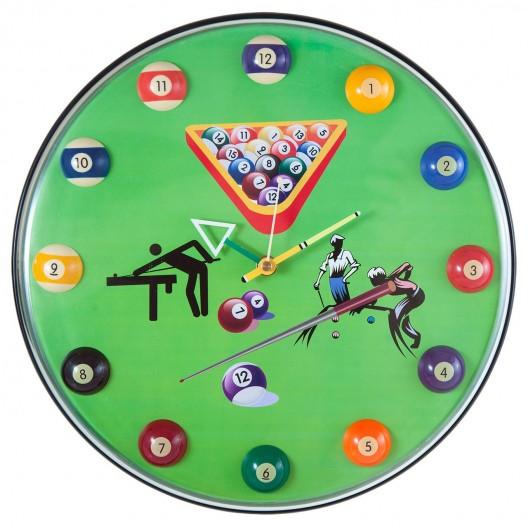 Часы для бильярда 12 шаров зеленые...