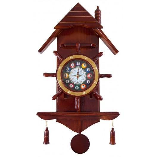 Часы для бильярда Избушка деревянные