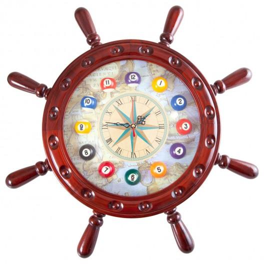 Часы для бильярда Штурвал деревянные